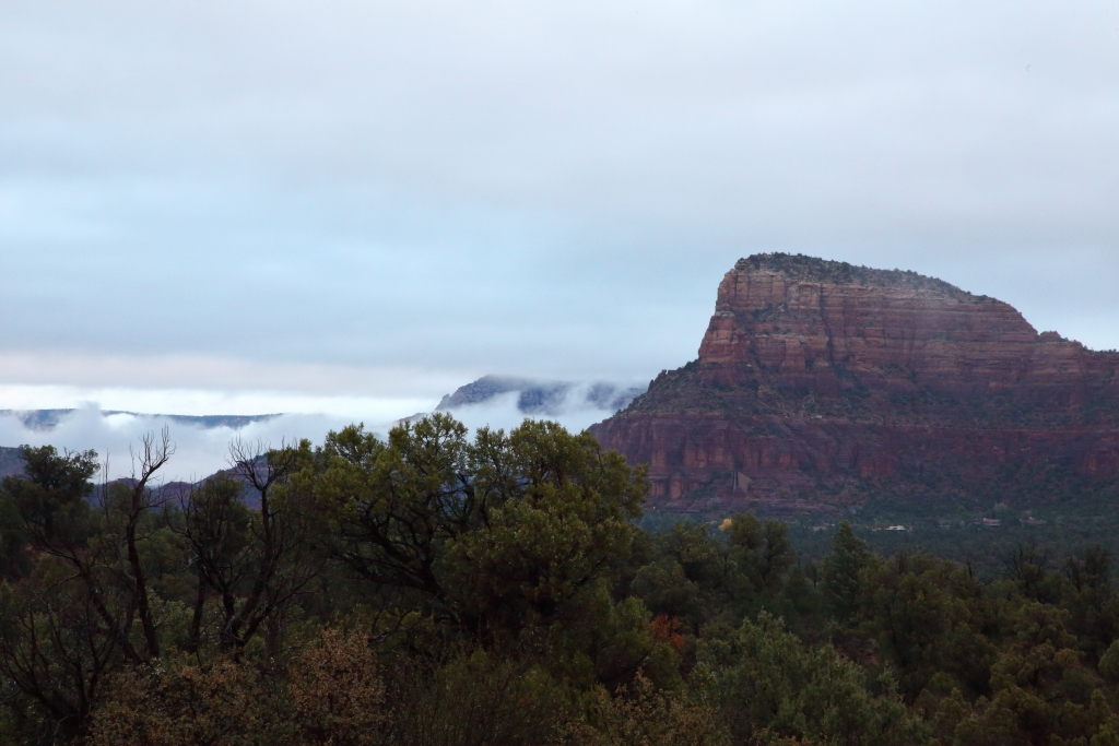 Sedona with fog
